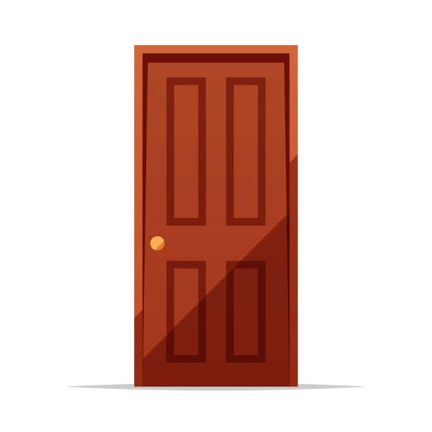 Wooden door vector isolated illustration Vector element front door stock illustrations