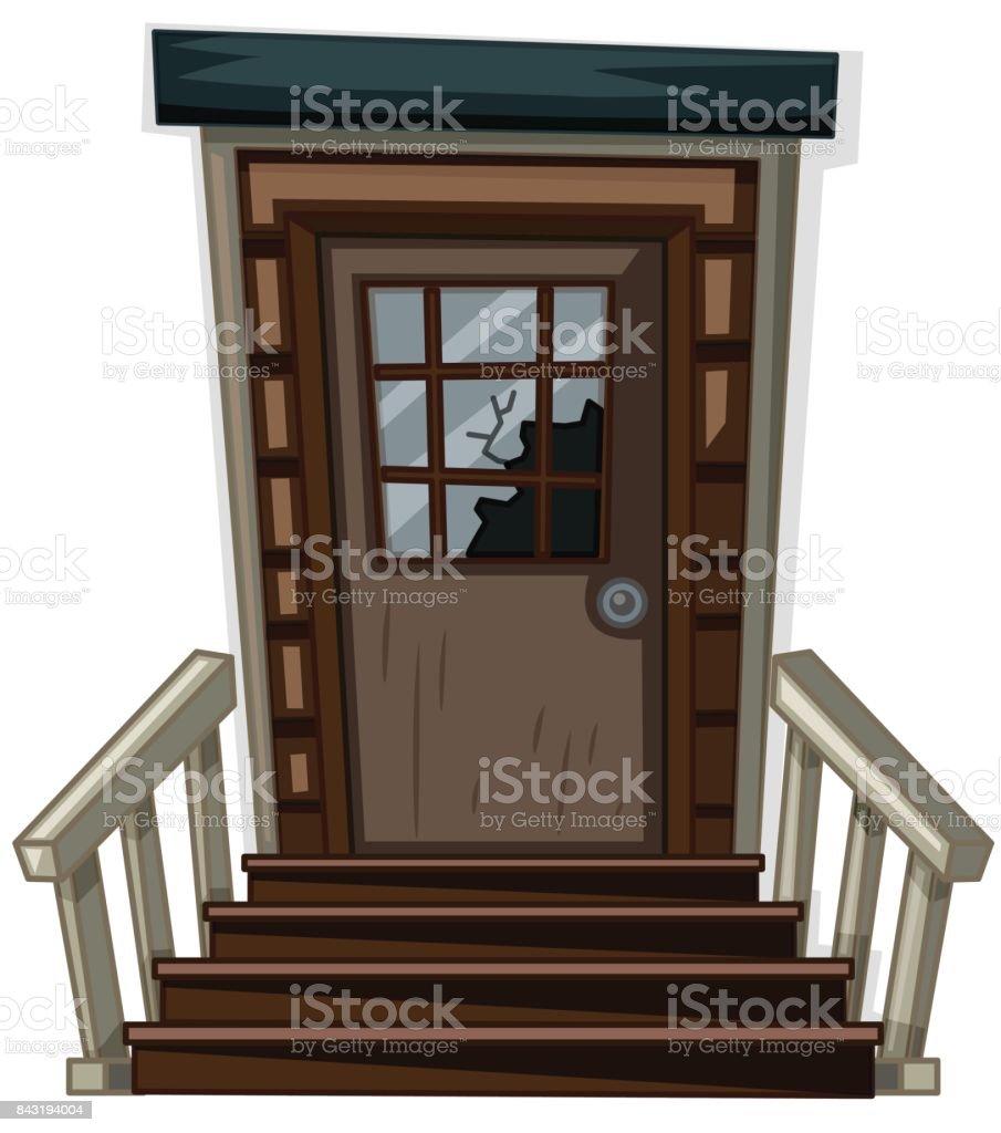 Porte En Bois Avec Fenêtre Brisée Vecteurs Libres De Droits Et