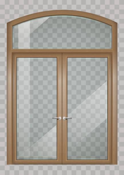 ilustrações, clipart, desenhos animados e ícones de portas de madeira - molduras decorativas
