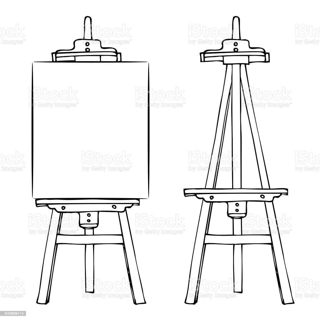 Wooden easel and canvas vector art illustration