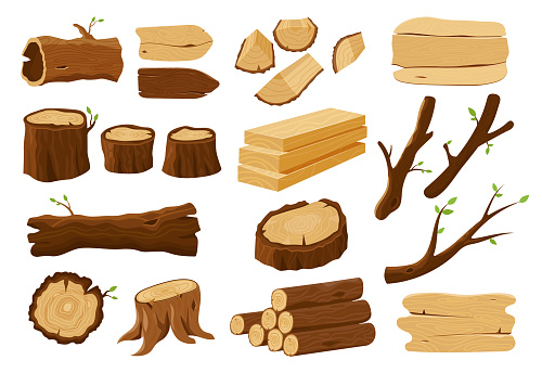 Wooden elements, lumber wood logs and tree trunks