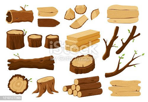 Wood logs, tree stumps and lumber wooden elements, vector icons set. Tree log trunks, wood plank boards, timber bars, firewood sections and wooden signage, forestry and woodwork construction