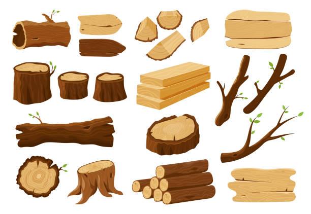 elementy drewniane, drewno drewniane i pnie drzew - gałązka stock illustrations