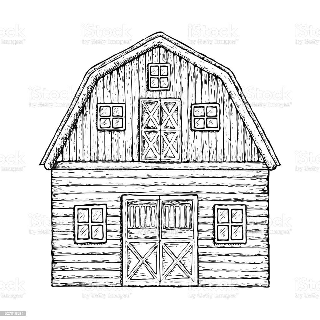 Wooden farming barn vector art illustration