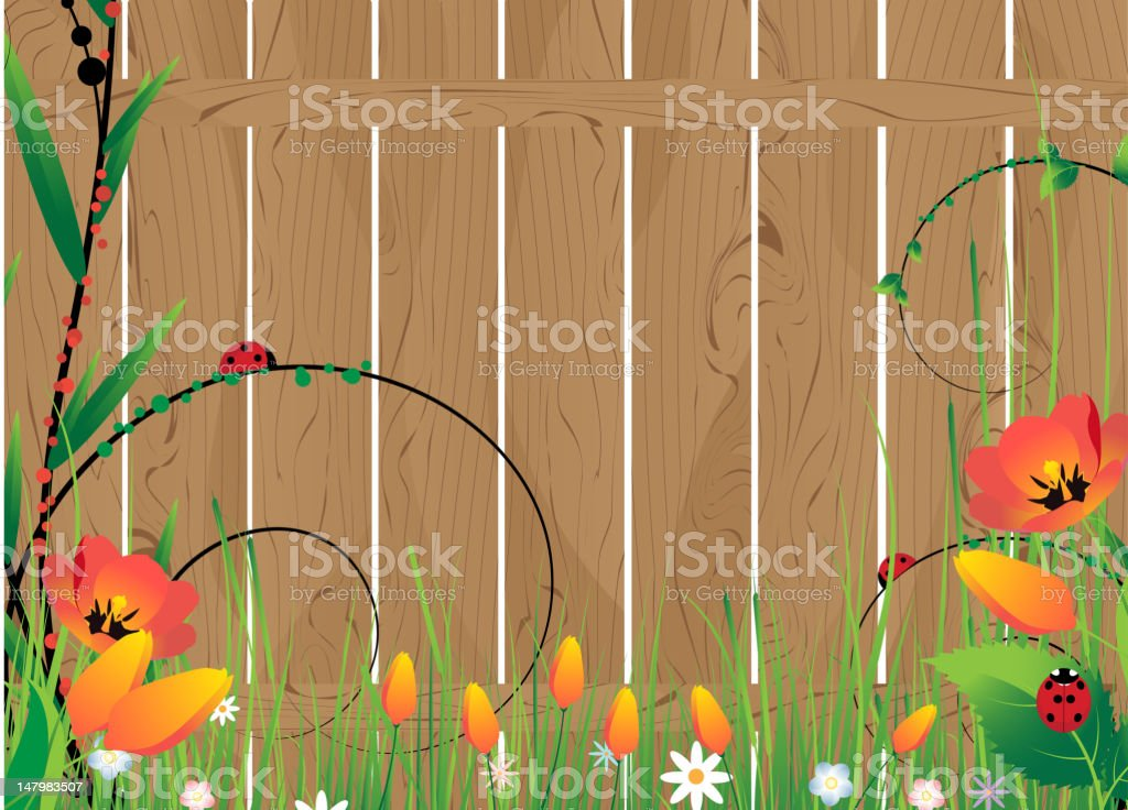 Wooden fence and flowers royalty-free stock vector art