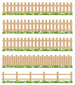 Vector Wooden fence and grass