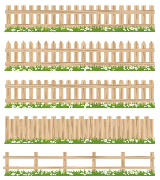 stockillustraties, clipart, cartoons en iconen met houten hek en gras - fence