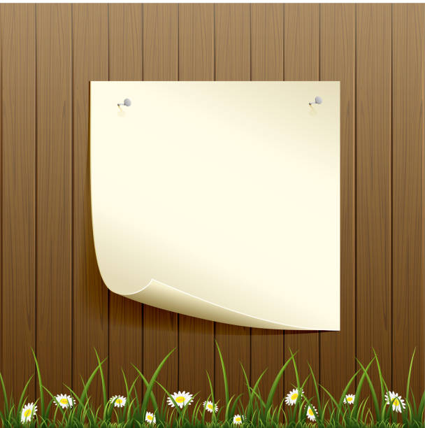 holz-zaun-hintergrund und papier - nagelspitze stock-grafiken, -clipart, -cartoons und -symbole