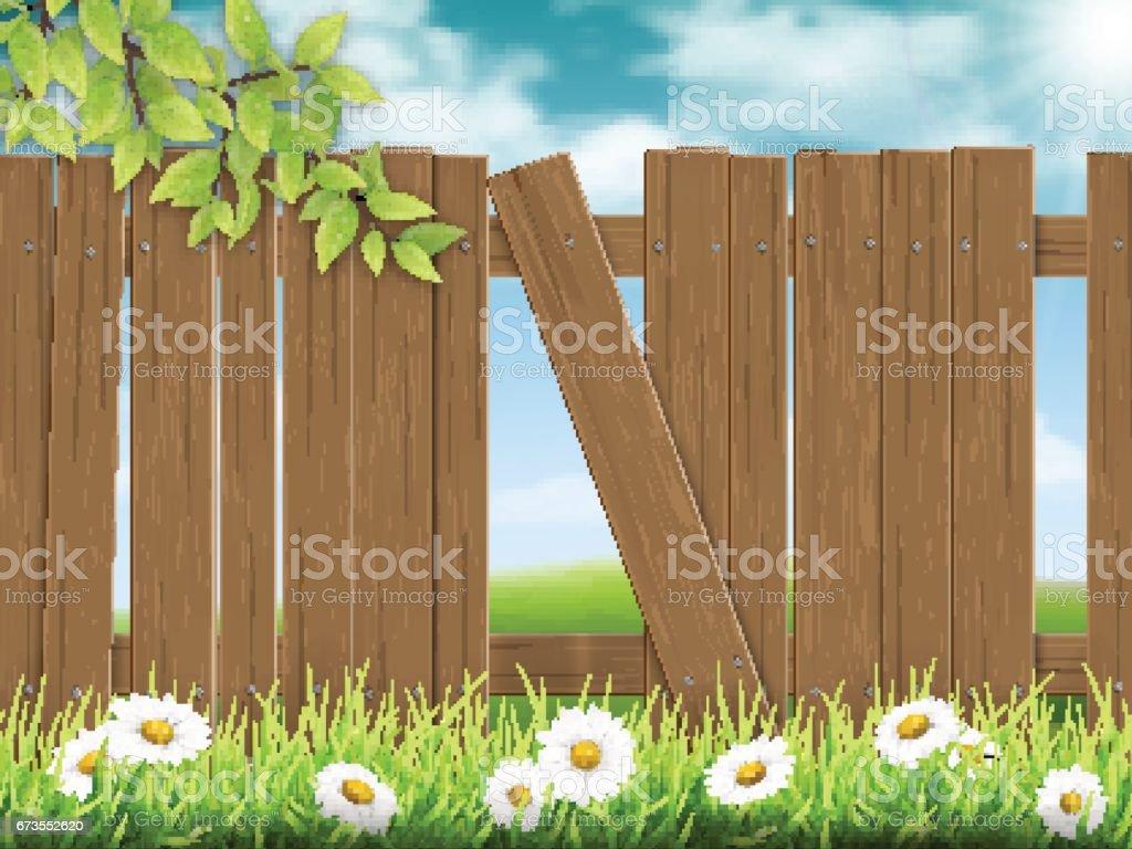 Wooden fence broken plank vector art illustration