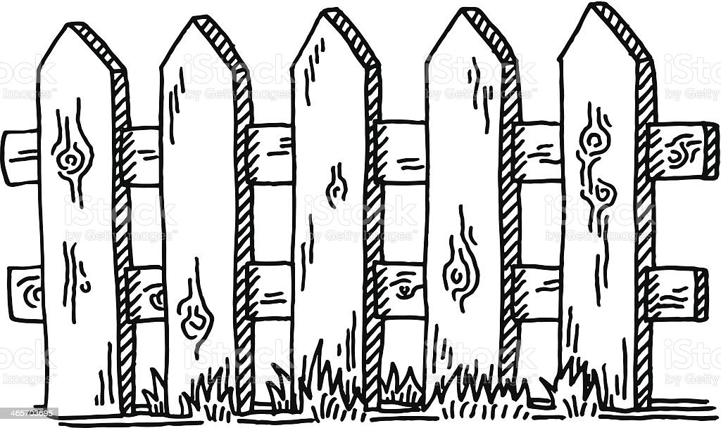 Wooden Fence Drawing vector art illustration
