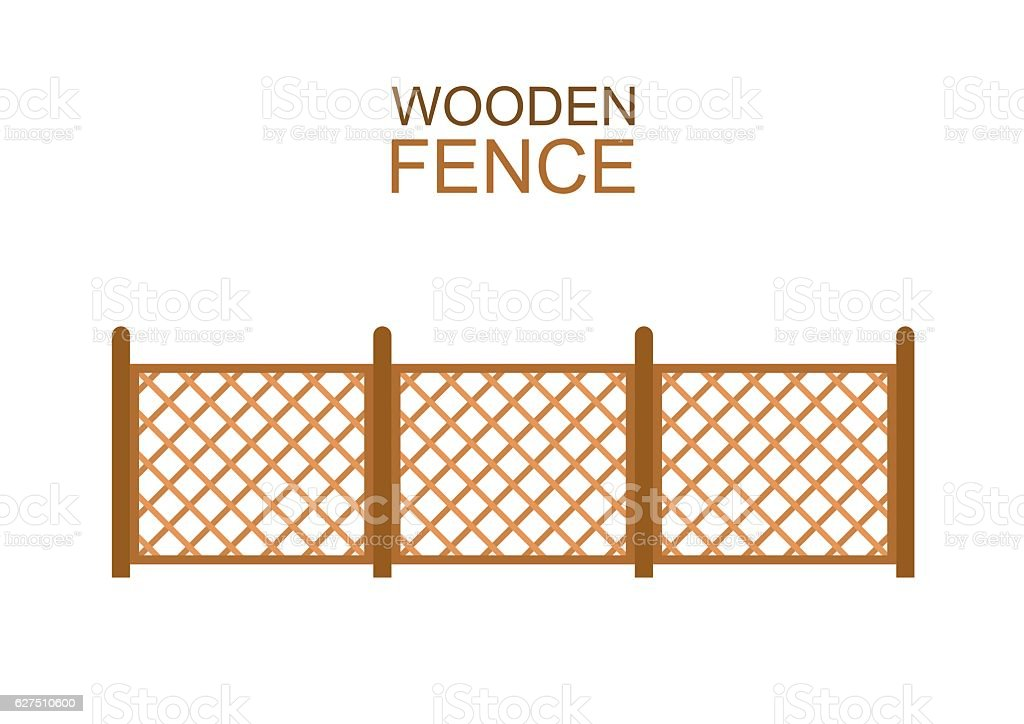 Wooden fence from crossed planking isolated on white background. vector art illustration
