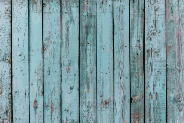 Wooden Fence Panels Grunge Blue Peeling Paint Vector Illustration Background vector art illustration