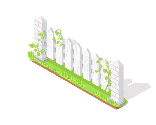 ilustrações de stock, clip art, desenhos animados e ícones de wooden fence section isometric projection vector - ivy building