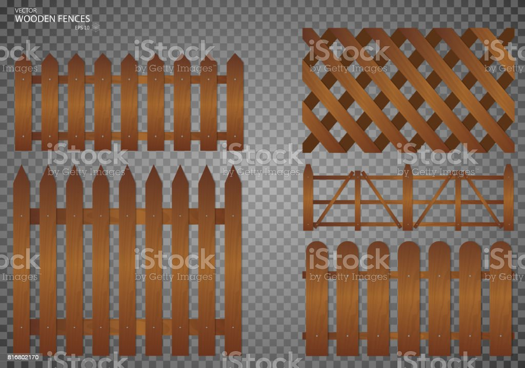 Wooden Fence. Set, Isolated On Transparent Background Vector Art  Illustration