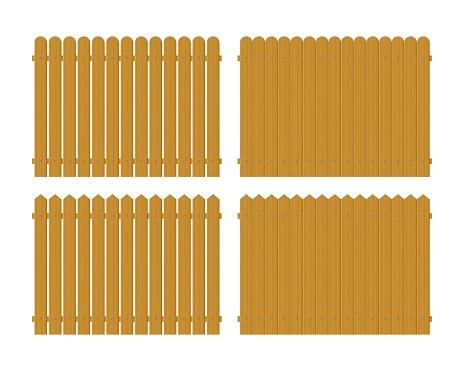 Wooden fence set vector illustration isolated on white background