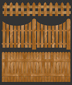 Wooden fence, vector illustration