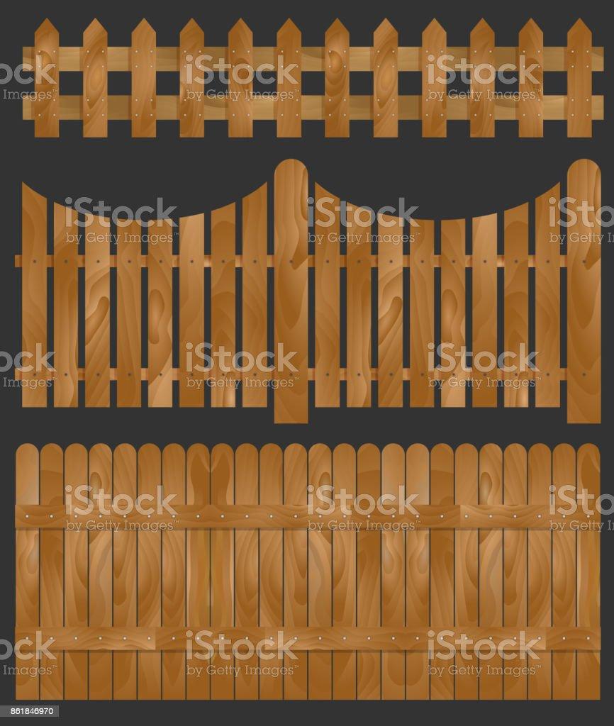 Wooden fence, vector illustration vector art illustration