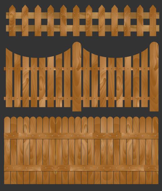 stockillustraties, clipart, cartoons en iconen met houten hek, vectorillustratie - fence