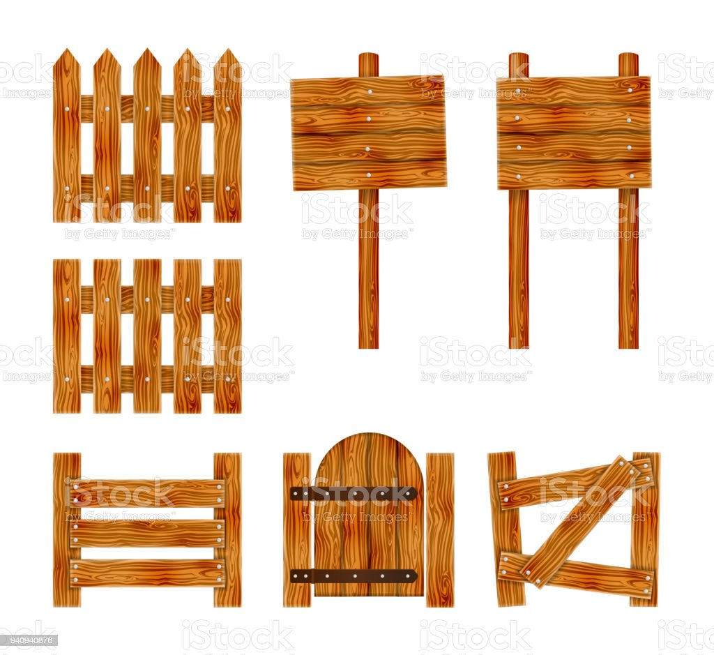 Wooden fence with a gate and signboard. Elements set for rural design. Cartoon vector illustration. vector art illustration