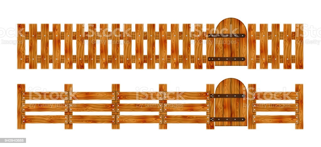 Wooden fence with a gate elements set for rural design