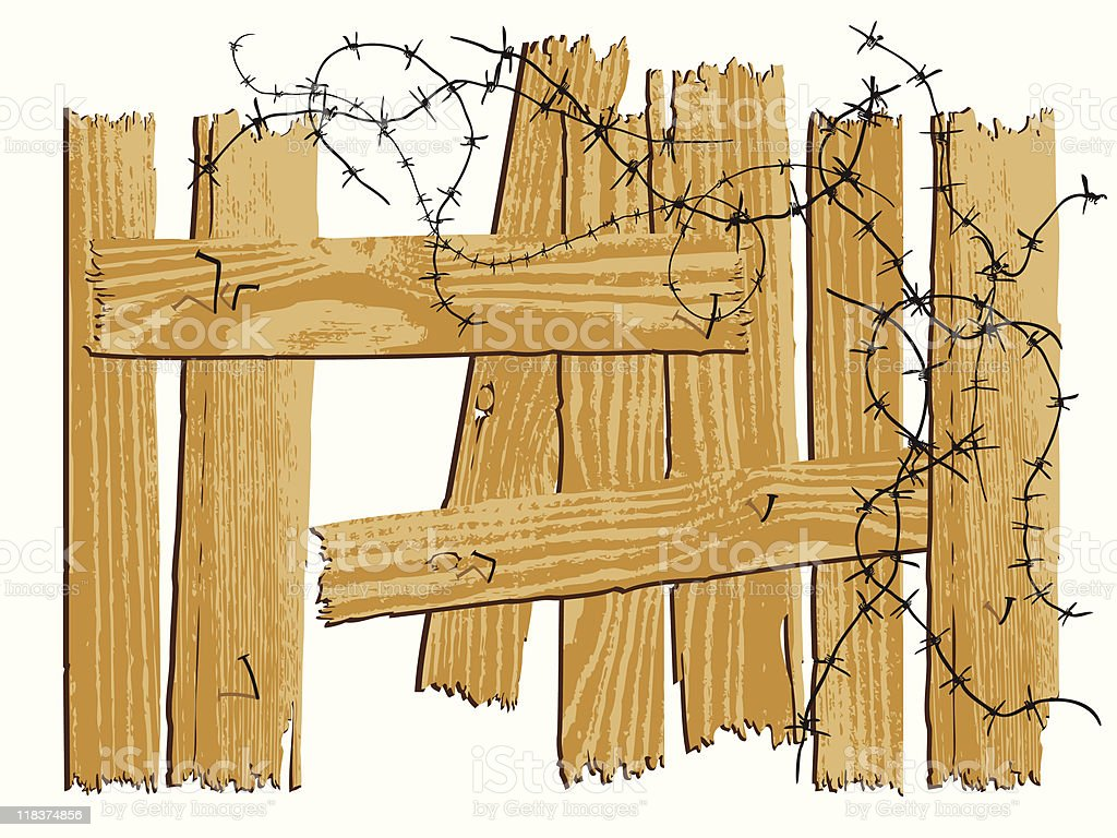 wooden fence with barbed wire royalty-free stock vector art