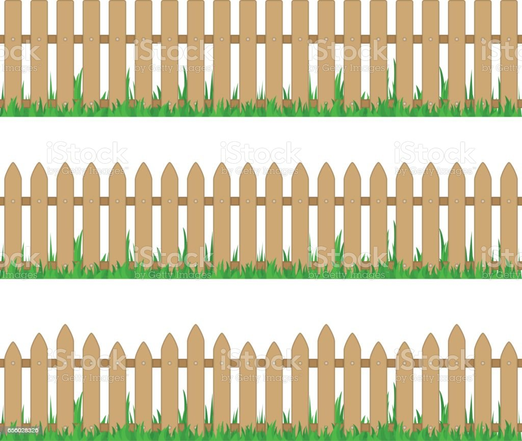 Wooden fence with grass. vector art illustration