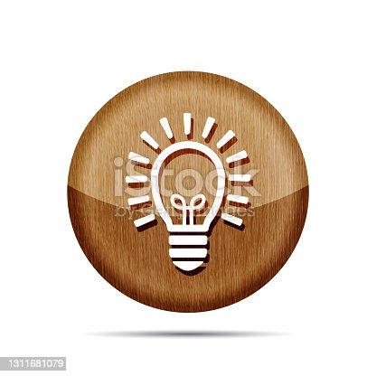 istock wooden flat lamp bulb icon - vector illustration 1311681079