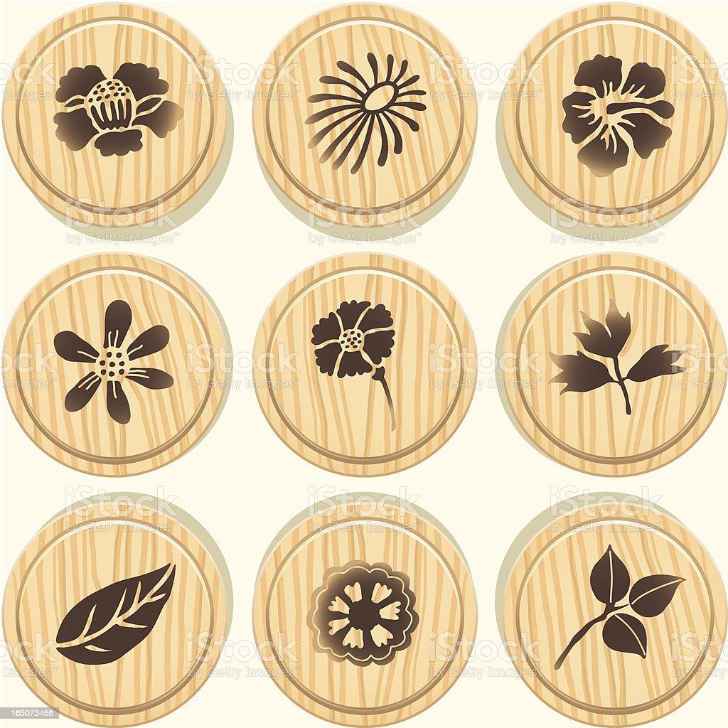 Wooden Flower Badges vector art illustration