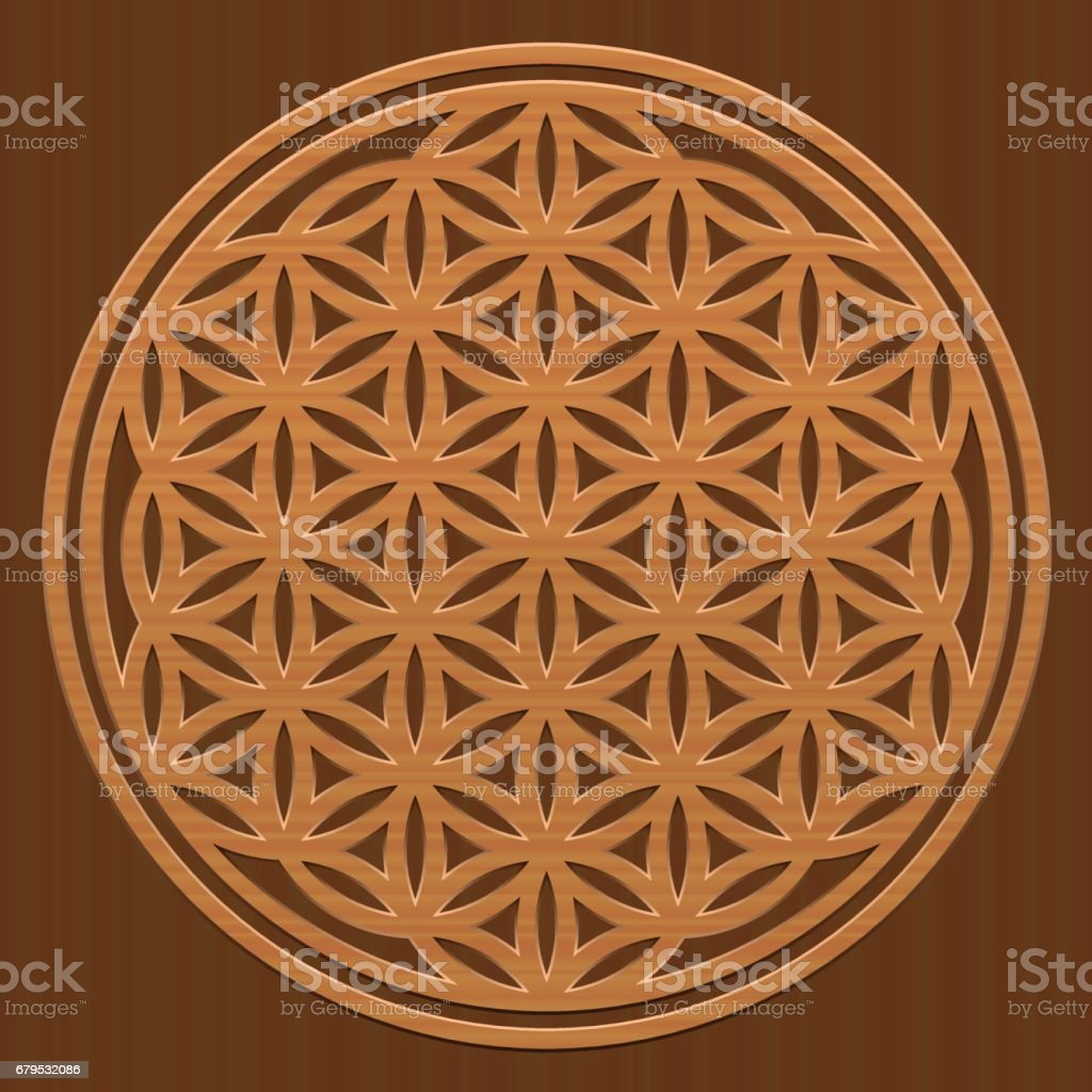 Wooden Flower of Life - as a symbol for peaceful and healing nature or natural spirituality - vector illustration on wood textured background. royalty-free wooden flower of life as a symbol for peaceful and healing nature or natural spirituality vector illustration on wood textured background stock vector art & more images of austria