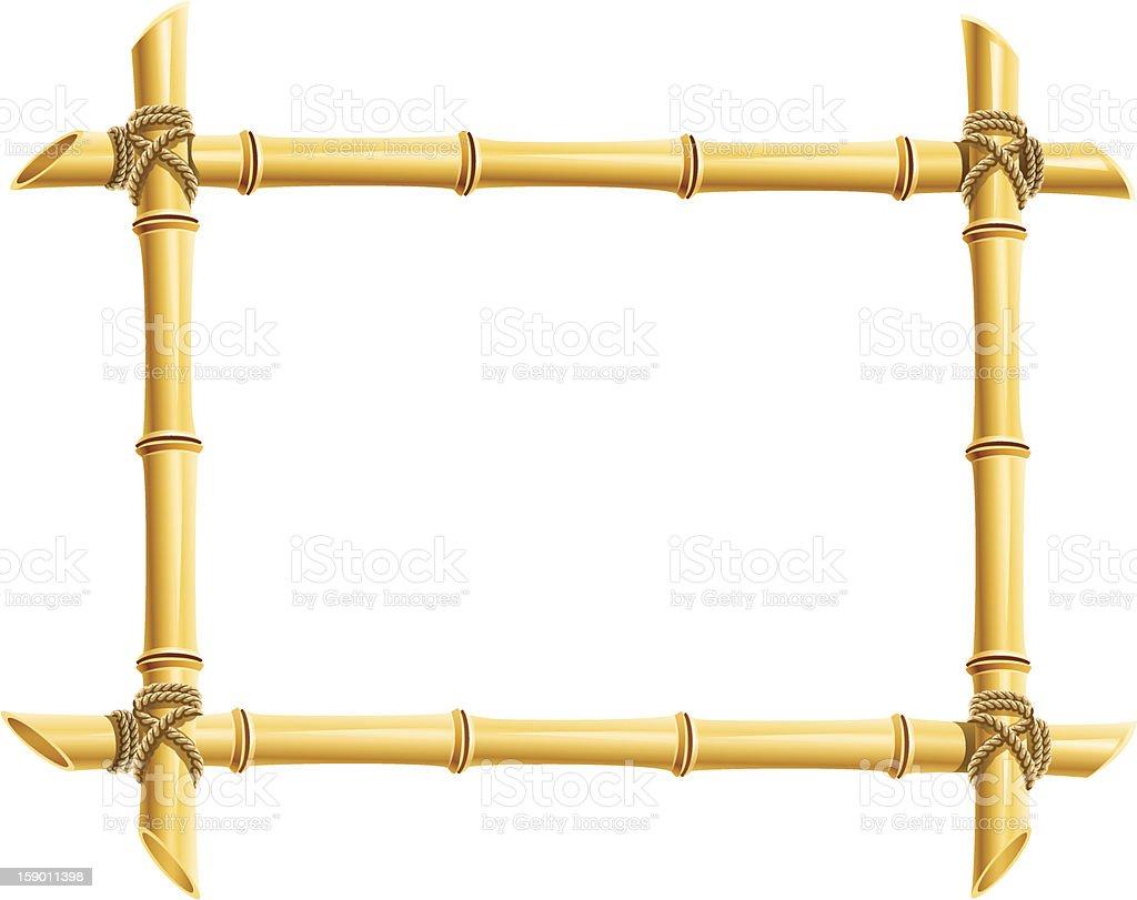 wooden frame of bamboo sticks vector art illustration