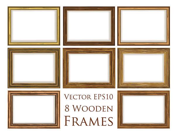 stockillustraties, clipart, cartoons en iconen met wooden frame set. - constructiegeraamte