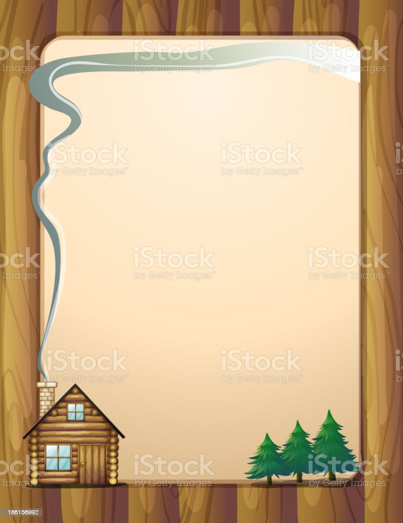 wooden frame with a house and trees royalty-free stock vector art
