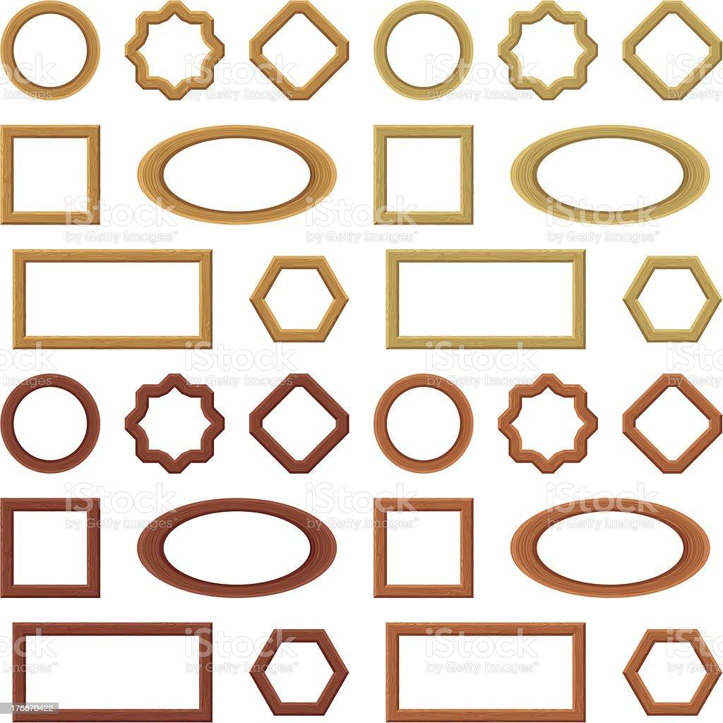 Wooden frames, set royalty-free wooden frames set stock vector art & more images of brown