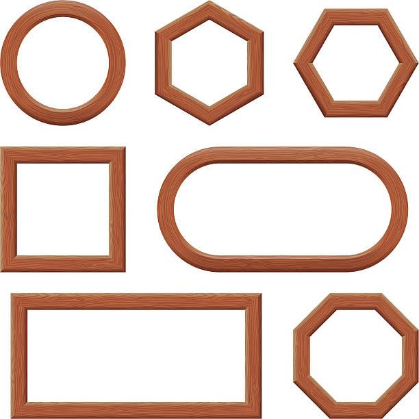 wooden frames, set - buchenholz stock-grafiken, -clipart, -cartoons und -symbole