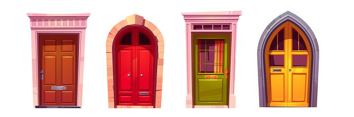 Wooden front doors with stone doorway