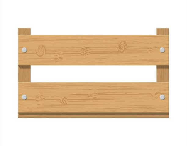 box aus holz obst. produkt schublade vorderansicht. - nagelplatte stock-grafiken, -clipart, -cartoons und -symbole