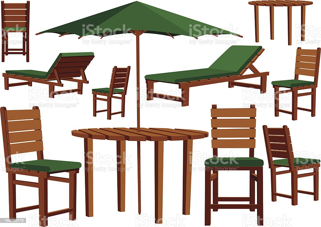 wooden garden furniture and sun loungers royalty free stock vector art - Garden Furniture Loungers