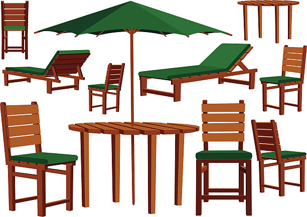Wooden garden furniture and sun loungers Isolated individual illustrations of various matching wooden garden furniture. All chairs, tables and loungers are completely scalable and movable. patio stock illustrations