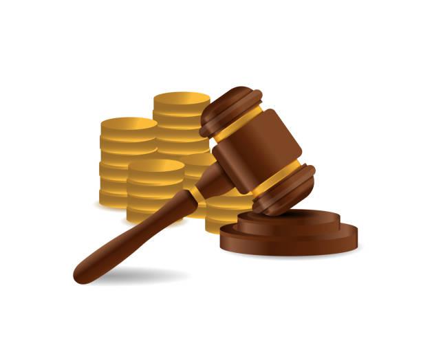 3d holz hammer. richter, gesetz, auktion konzept. - geldstrafe stock-grafiken, -clipart, -cartoons und -symbole