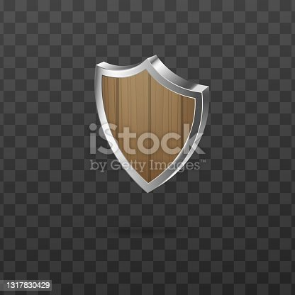 istock Wooden guard security shield with silver frame a vector realistic 3d illustration 1317830429