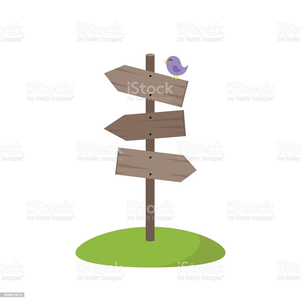 Wooden guidepost showing different directions vector art illustration