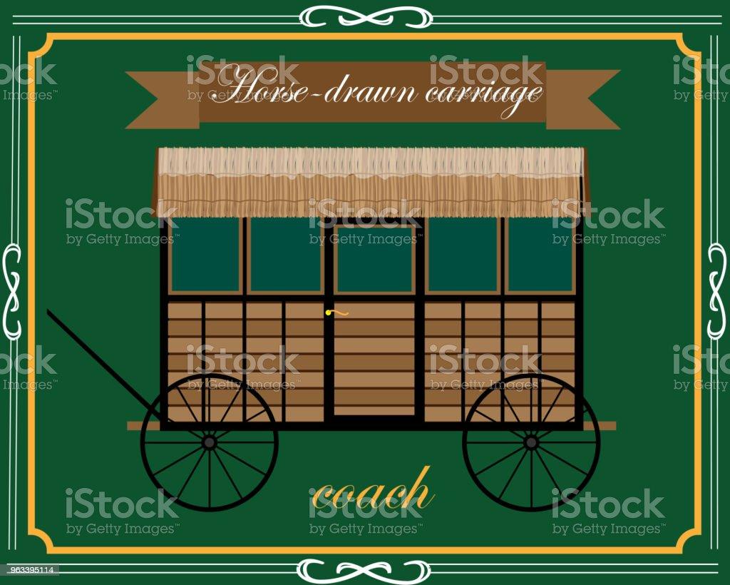 drewniany powóz konny - Grafika wektorowa royalty-free (Stary)