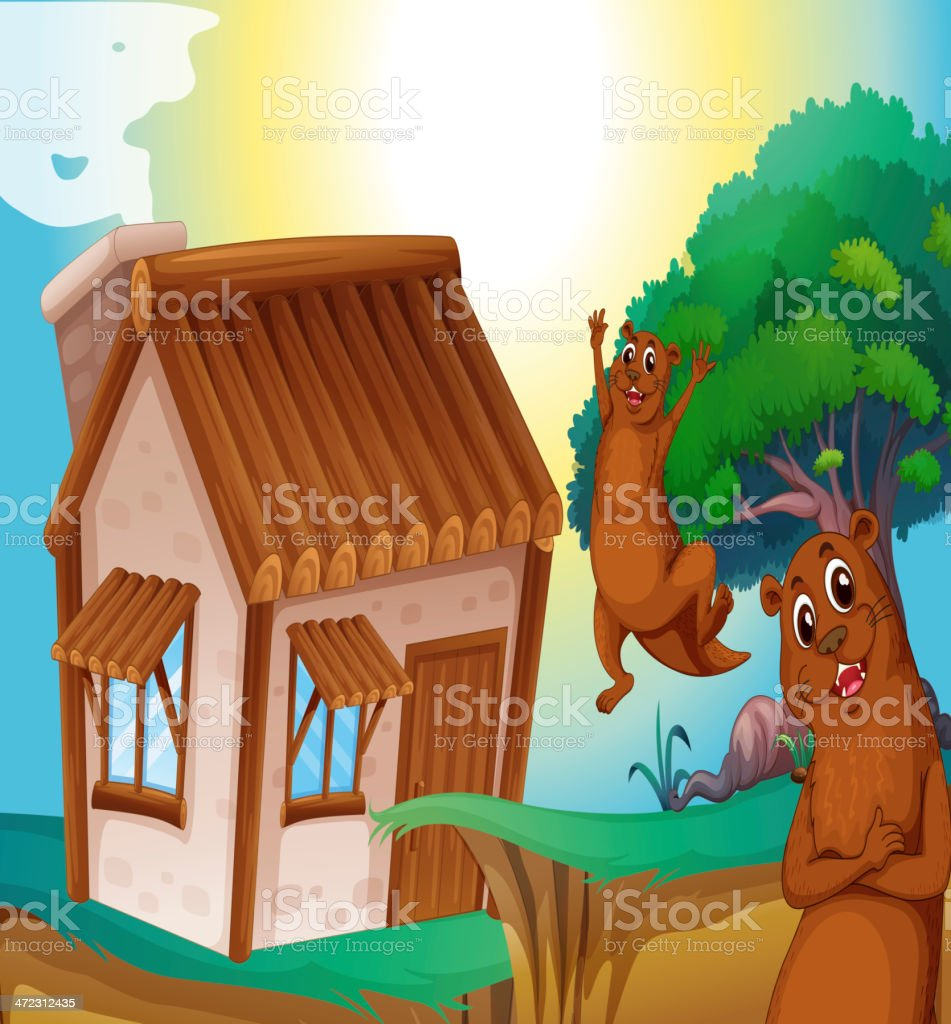 Wooden house and otters vector art illustration
