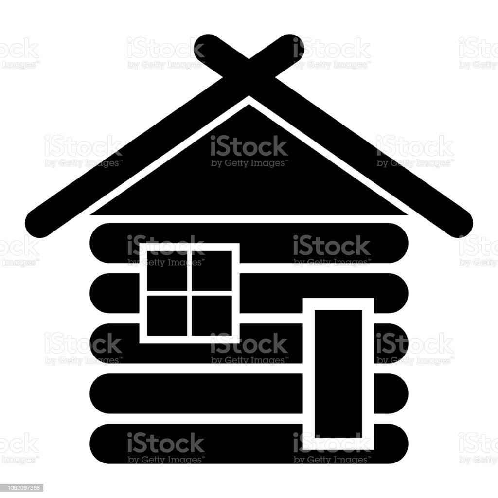 Madera casa granero Cabañas madera modulares madera casas modulares icono color negro vector ilustración estilo plano de la imagen de la cabina - ilustración de arte vectorial