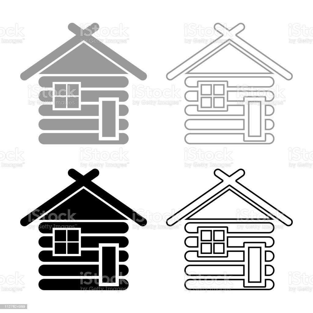 Casa de madera granero con icono de casas modulares de cabaña de madera Cabañas modulares madera set color negro gris ilustración contorno estilo plano simple imagen - ilustración de arte vectorial