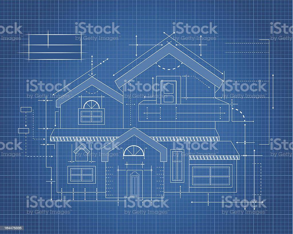Wooden house Blueprint vector art illustration