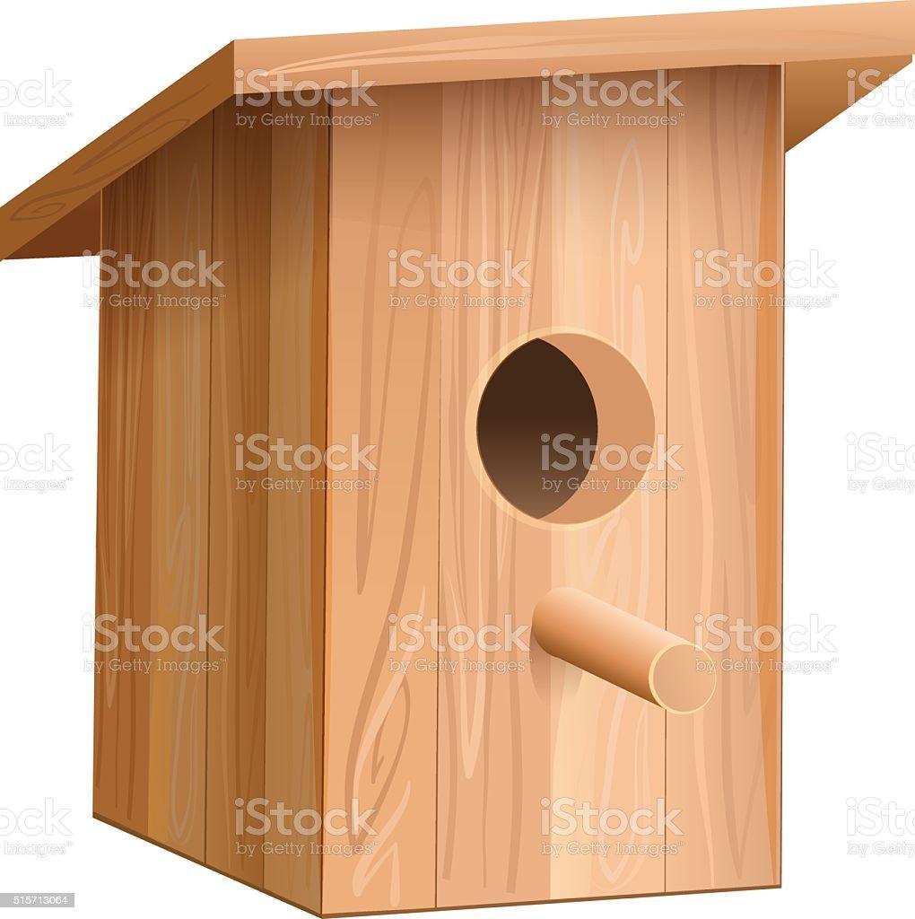 Wooden house for bird. Nesting box vector art illustration