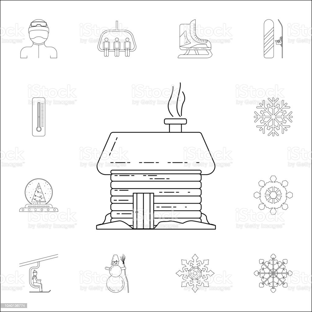 wooden house icon winter icons universal set for web and mobile