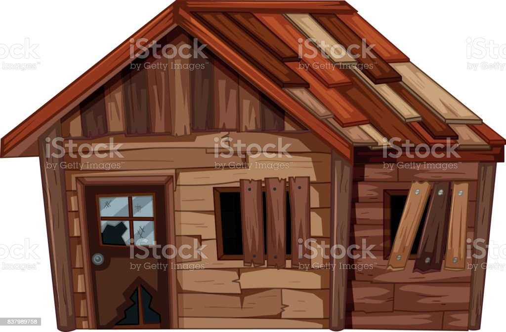 Wooden house in bad condition vector art illustration