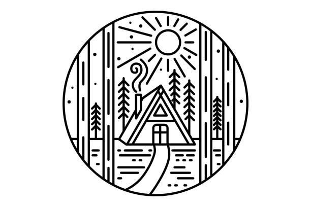 wooden house in the forest. wooden cabin in the woods. linear illustration - log cabin stock illustrations, clip art, cartoons, & icons